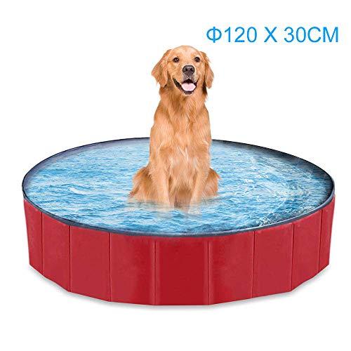 mewmewcat Hundepool Doggy Pool Faltbarer Schwimmbad Für Hunde Hündchen 120 * 30 cm Hundebad Für Kinder Den Hund Katze Geschenk Rot