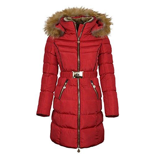 "Damen Winterjacke mit Fellkapuze Steppjacke Mantel ""Adele"" Color Rot, Dimension 34"