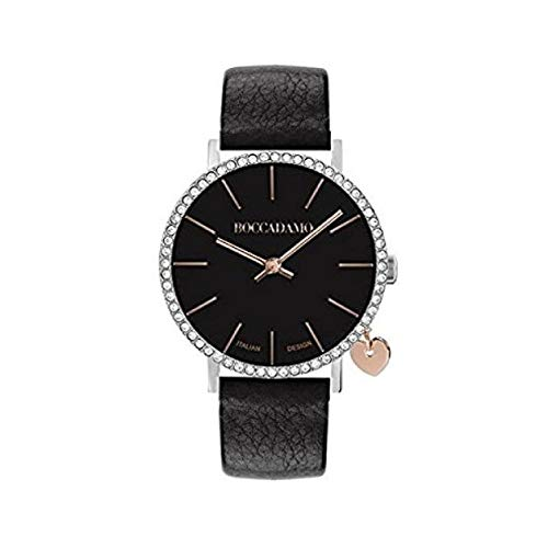 Orologio boccadamo donna con cinturino in pelle nera, cassa in Swarovski e charm laterale Ref. MY032