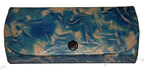 Shanti Boîte Lunettes en cuir style peint à la main avec motif tourbillon bleu