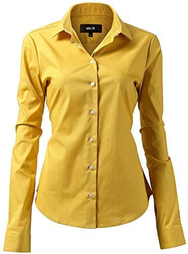 INFLATION Damen Hemd mit Knöpfen Baumwolle Bluse Langarmshirt Figurbetonte Hemdbluse Business Oberteil Arbeithemden Gelb 45/20