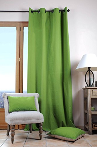 Lovely Casa r61490008Duo Cortina Uni algodón Verde 240x 135cm