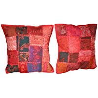 Red Patchwork Cotton Cushion Cover Vintage Pillows 16 X 16 Inches 2 Pcs