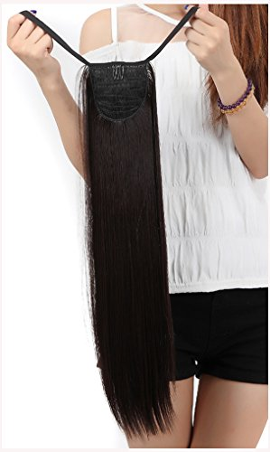 Clip in Extensions Haarverlaengerung Pferdeschwanz Zopf Haarverdichtung Haarteile Peruecken Tie Up Bindung Ponytail ca.55cm/22 Zoll Glatt Pony Tail Wie (Zopf Zopf In)
