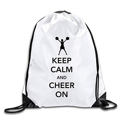 Etryrt Turnbeutel/Bedruckte Sportbeutel, Premium Drawstring Gym Bag Rucksack, Keep Calm and Cheer On Port Bag Drawstring Backpack -