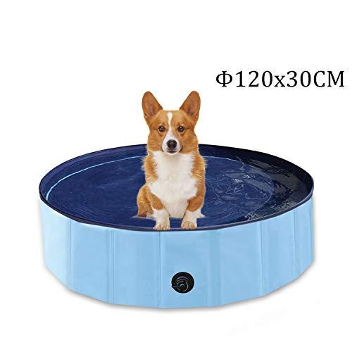 YAOBLUESEA Hunde Planschbecken, 120x30CM PVC Hundepool Doggy Pool Faltbarer Badewanne Pool-Mittel/Blau