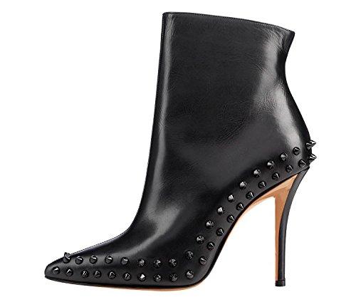 Arc-en-ciel Calçados Femininos De Salto Alto Pontas Do Dedo Do Pé Preto Spike Ankle Boot