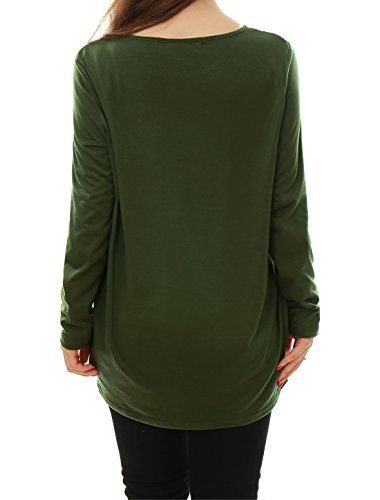 Allegra K Damen Casual Rundausschnitt lose Kittel top Shirt Pullover Tunika Grün