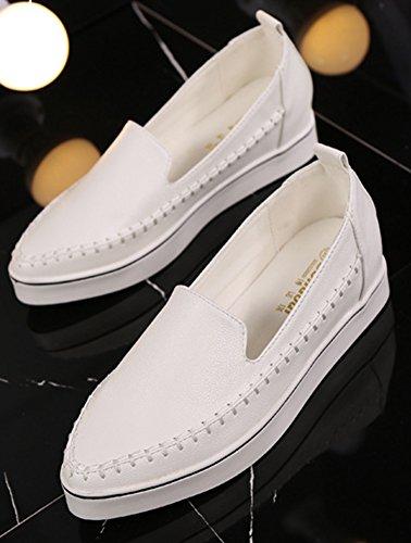 Aisun Femme Classique Coutures Slip On Compensées Baskets Blanc