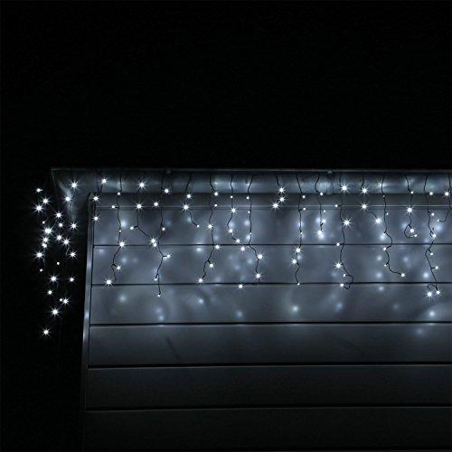 LED Eisregen Lichterkette mit 400 kalt weissen LEDs Lichtervorhang für Draußen und Innen