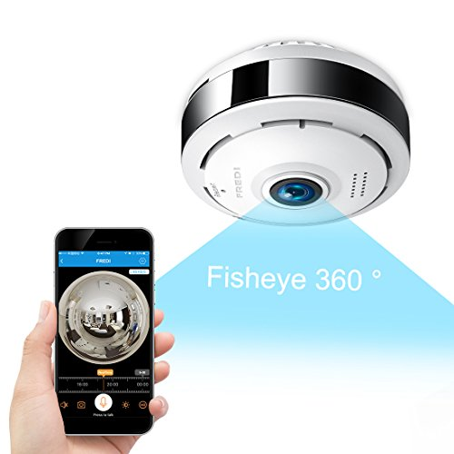Digital Pir-cam (FREDI IP Sicherheit Kamera 960P Panorama Kamera 180°Wlan Videoüberwachung Dome Überwachungskamera IP Cam mit IR Nachtsicht /2 Weg Audio/Bewegungsmelder für Haus /Baby Überwachung (EC6))