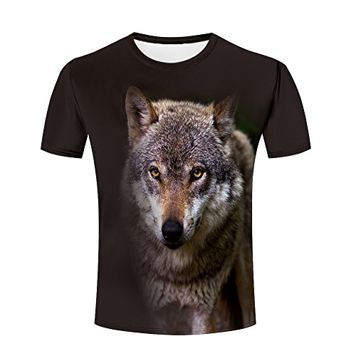 Men 3D Tshirts Unisex Forset Wolf Dog Printed Creative Graphics Tees M (Sleeve Work Shirt Jeans-short)