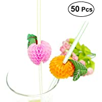 BESTONZON 50 piezas de frutas decoradas copas de beber desechables taza de bebida para bricolaje Club Drink (color mezclado)