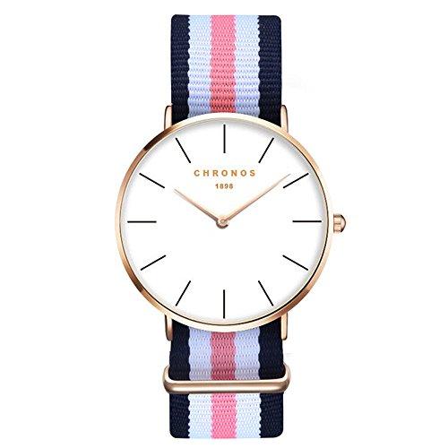 XLORDX Damen Unisex Armbanduhr elegant Quarzuhr Uhr modisch Zeitloses Design klassisch Gold Nylon Blau Weiß Rosa