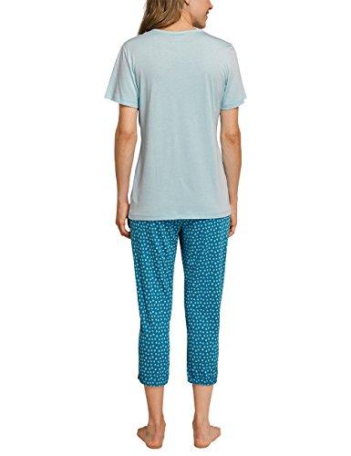 Schiesser Anzug 3/4, 1/2 Arm, Pyjamas Deux-Pièces Femme Blau (Aqua 833)