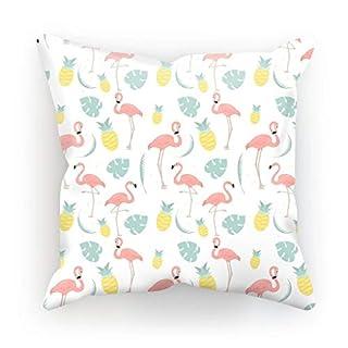 ArteCita Kissen, Bedruckt, aus Baumwolle, mit Füllung, 30 x 30 cm oder 45 x 45 cm, Flamingo, Baumwolle, weiß, 45x45cm