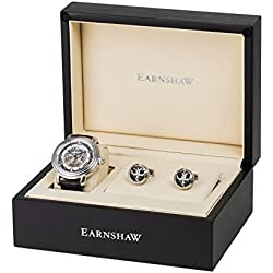 Thomas Earnshaw Gift Set with Men's Longcase Automatic Swiss-Made Silver Dial Watch, Tourbillon Cufflinks and Luxury Gift Box