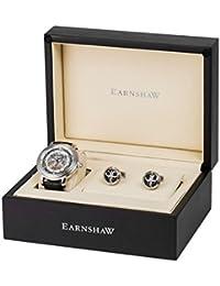 Thomas Earnshaw Longcase - Reloj de pulsera automático con caja de regalo para hombre, color plata / negro
