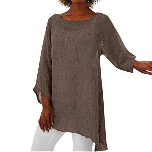 Frauen Plus Size Langarm Leinen Baggy Bluse Shirt Damen Sommer Tunika Tops Rundhals Langarm T-Shirt Mit Unregelmäßigem Saum Aus Leinenimitat