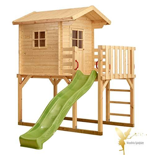 Woodinis-Spielplatz(R) Kinder-Spielhaus auf Stelzen, Holz, grüne Rutsche, Dachüberstand, Balkon, P167430-2