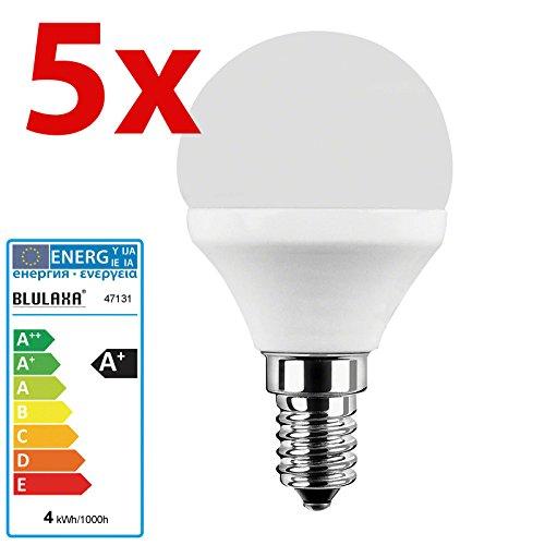 Energie Sparen 4 Licht (5 Stück LED Lampe E14 Tropfenlampe 4 Watt 827 warmweiß)