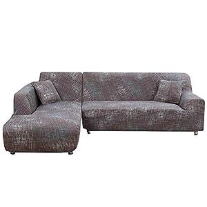 Jian Ya NA L-Form-Stretch Sofabezüge Polyester Spandex Stoff Slipcover 2ST Polyester-Gewebe Stretch Slipcovers + 2pcs Kissenbezüge für modernes Schnittsofa Beige