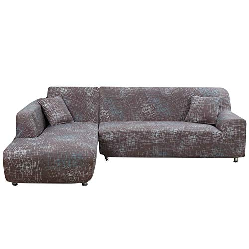 Jian Ya NA L-Form-Stretch Sofabezüge Polyester Spandex Stoff Slipcover 2ST Polyester-Gewebe Stretch Slipcovers + 2pcs Kissenbezüge für modernes Schnittsofa Braun