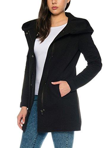 ONLY Damen-Woll-Mantel onlSedona Link Coat 15144772 Kurz-Mantel Übergang-Jacke, Größe:XL, Farbe:Schwarz
