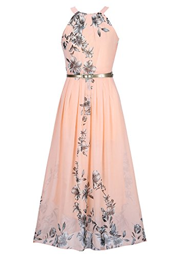 Vestido maxi sin mangas de la impresion floral del vintage del cuello