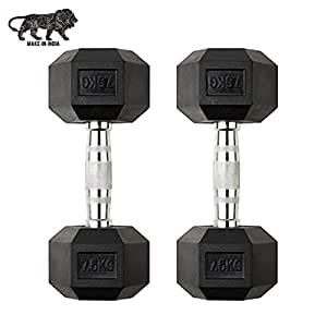 GSM Fitness Hex Dumbbell, 7.5 kgs, Pack of 2, Rubber Coated