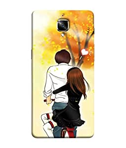 PrintVisa Designer Back Case Cover for One Plus 3T (cute lovely couple cycle riding)