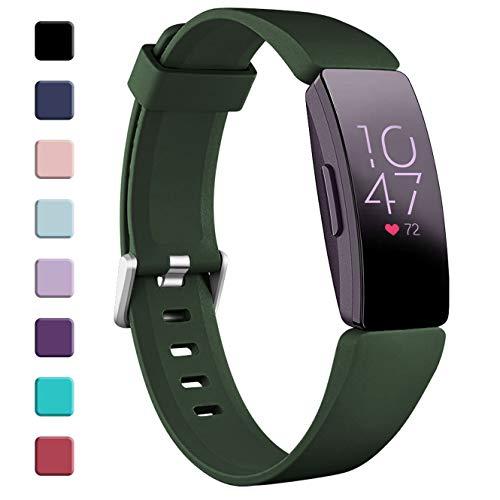 Zekapu Bracelet Compatible pour Fitbit Inspire & Inspire HR and Ace 2, Bracelet de Remplacement Imperméable Soft Sport, Grand Militaire Vert