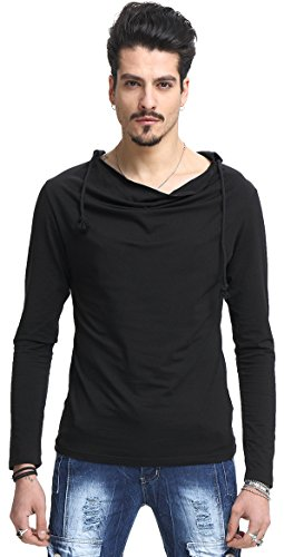 Whatlees Herren regular fit leicht Langarme Kapuzenpullover aus weicher Sweatstoff B093-Black-XL