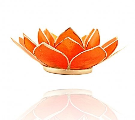 Lotus Luz de luz de té Soporte de capiz conchas en varios. Colores Diámetro 13,5cm Lotus Chakra Feng Shui, Orange Silber