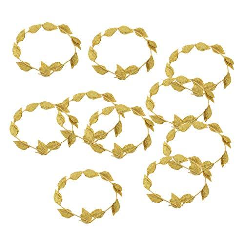 Generic 10 Stück Römische griechische Göttin Lorbeerkranz Gold Blatt Stirnband Fasching Strand Party Kopfschmuck