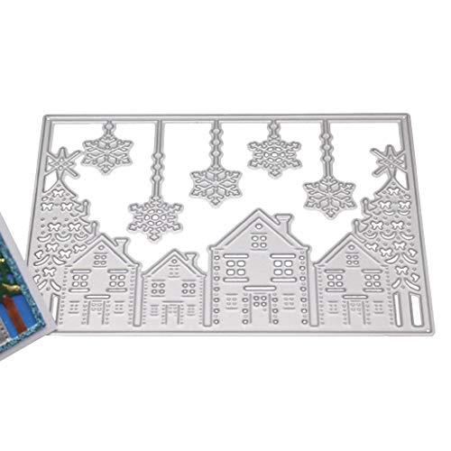 yuanmaoao Weihnachten Haus Schneeflocke Metall Stanzformen Schablone DIY Scrapbooking Album Stempel Papier Karte Präge Decor Craft -