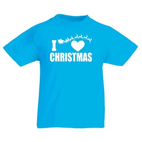 Kostüme Geschichte Europäische (Kinder T-Shirt Ich liebe Weihnachten - Weihnachtsoutfits, Weihnachtsmann und die Rentiere (7-8 years Hellblau)