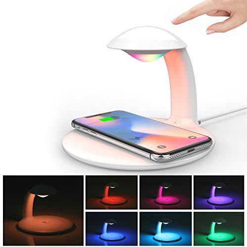 Kriogor LED Dimmbare Nachttischlampe mit Kabelloses Ladegerät, Touch Control Tischlampe, RGB Farbwechsel Stimmungslicht, Induktive Ladestation, 10W/7.5W Fast Wireless Charger für iPhone/Huawei
