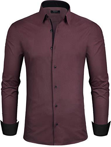 Grin&Bear Design Herren Hemd, weinrot, Slim, S, SH335