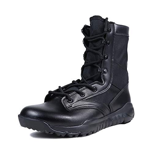 LUDEY Stivali Militari Uomo High-Top Scarpe da Escursionismo Stivali con Lacci Lavoro Stivali Impermeabili Scarpe da Lavoro Uomo A-CQB Nero 43 EU