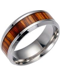 ENCOCO Anillo de hombre con incrustaciones de madera para hombre anillo de compromiso boda banda estilo