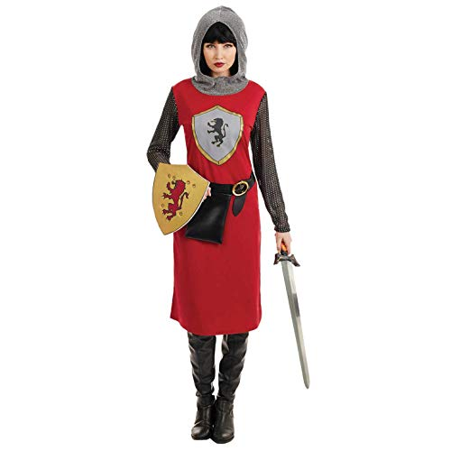 Königreich Krieger Kostüm - Fun Shack Damen Costume Kostüm, Womens Red Knight, m