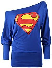 Womens Ladies Superman Batman Off Shoulder Slouch Dress Comic Hero Long Sleeve Batwing Top Plus Sizes