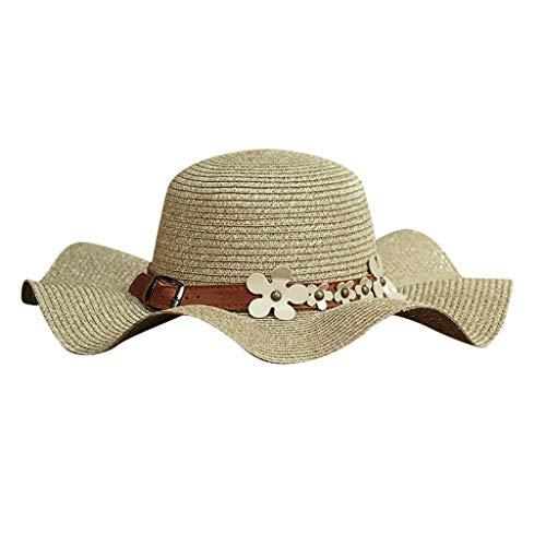 Frauen Strand Strohhut Jazz Sonnenschirm Panama Trilby Fedora Hut Gangster Hut ()
