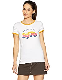 Symbol Amazon Brand Women's Graphic Print Round Neck Cotton T-Shirt