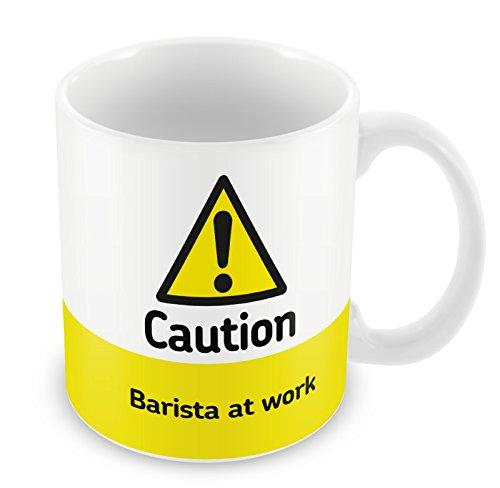 caution barista at work mug