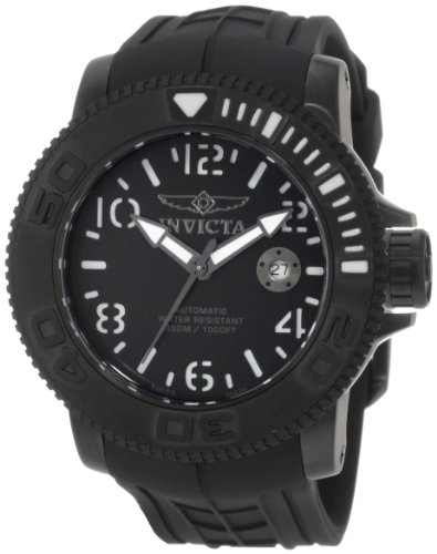 Invicta Men's Pro Diver Sea Hunter Automatic Watch 1073 with Black Dial,White Lumionous Back and Black Rubber Strap
