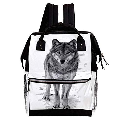 Hungriger Wolf Wickelrucksack Wickeltasche große Kapazität der Mehrfachtasche für Mutterschaftsbabywindeländerung Mama Multifunktionsreiserucksack,27x19.8x36.5cm -