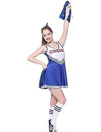 maboobie Tenue Complete Debardeur Jupe a Volant Pom-Pom Girls Cheerleader Bleu av/ 2 Pompons XXL (46-48)