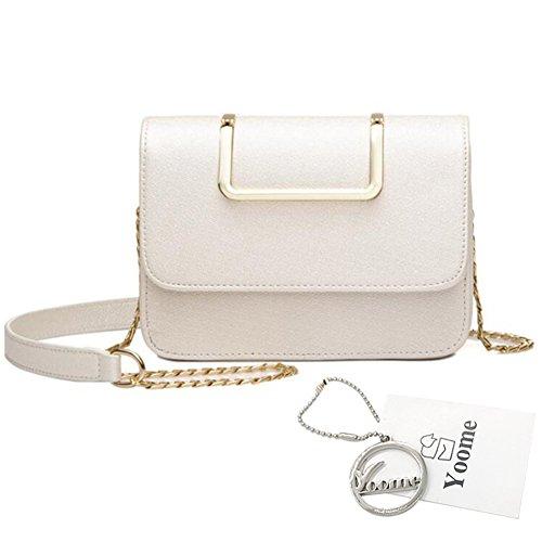 Yoome Upscale Pure Farbe Mode Klappe Tasche Kette Taschen für Mädchen Business Taschen für Frauen Leder - Schwarz Weiß